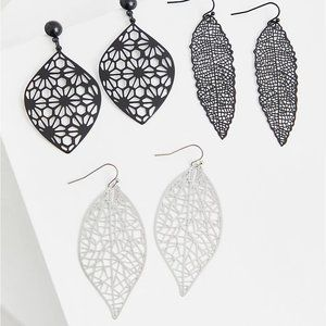 Torrid Filigree Leaf Earrings Set - Set Of 3